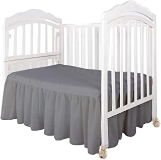 Dust Ruffle with Split Corners - 100% Cotton - for Nursery Crib Toddler Bedding Crib Bed Skirt for Baby Boys or Baby Girls, 14