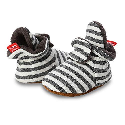 Sabe Dziecięce chłopięce dziewczęce buty do nauki chodzenia ciepłe polarowe botki miękka podeszwa uniseks pasek kapcie pierwszy wózek antypoślizgowe zimowe buty dla niemowląt Boże Narodzenie urodziny prezent, - A3 Navygraystripe - 0-6 Miesiące