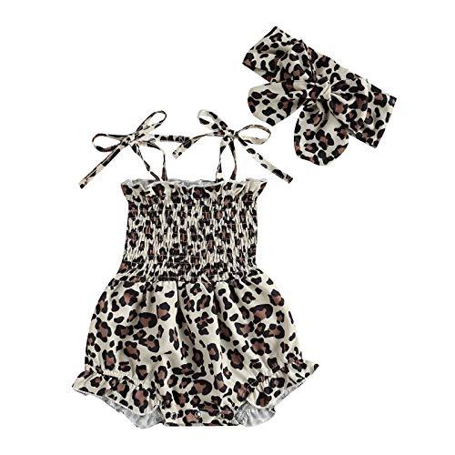 2 piezas Toddler Newborn Baby Girl mono sin mangas Sling Crop Top Girasol Bunny Piña Leopard Body Bow Hairband LEOPARDO 0-3 Meses