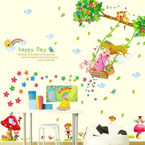 Pegatinas de pared de feliz día de niña columpio de dibujos animados para decoración de habitaciones de niños calcomanías de pared decorativas extraíbles decoración de guardería