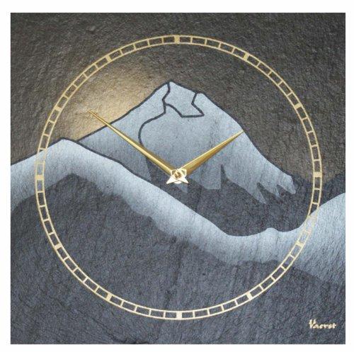Vaerst 1169 Wanduhr Schiefer Airbrushdesign Mount Everest Sonnenuntergang 30 cm x 30 cm