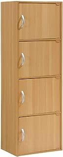 Hodedah 4 Door, Four Shleves, Enclosed Storage Cabinet, Beech
