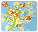 Alfombrilla de ratón floral, diseño de lirio de tigre en colores vibrantes retro Essence Buds, color amarillo pálido azul cielo 24 x 20 cm