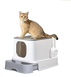 PaWz Cat Litter Box Fully Enclosed Toilet Trapping Sifting Odor Control Basin