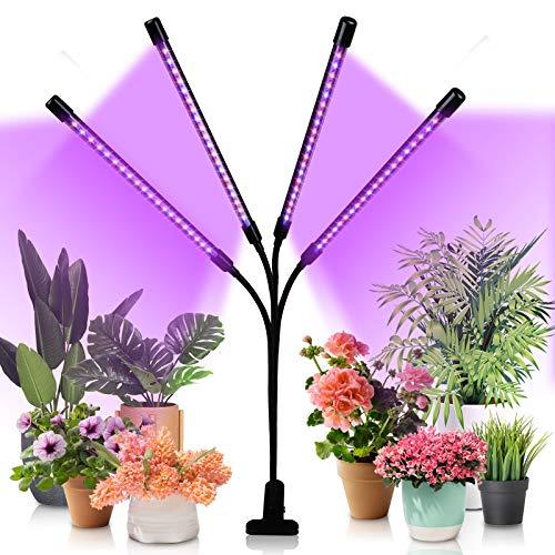 Hengda LED Pflanzenlampe 40W Dimmbar Pflanzenlicht mit Zeitschaltuhr, Pflanzenleuchte mit Rot Blau Licht Vollspektrum Grow Lampe für Zimmerpflanzen Gemüse und Blumen, 3 Arten von Modus