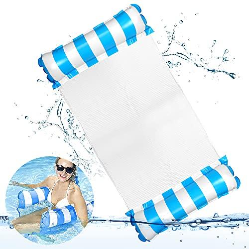 O-Kinee Hamaca Flotante Piscina, Hamaca de Agua Inflable, Hamaca Flotante, Portátil Agua Hamaca, Cama Flotante de Agua, Cómoda Piscina Playa Flotador para Adultos (Azul)