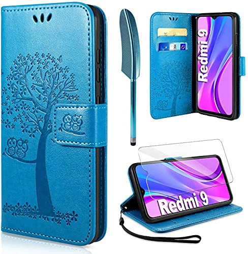 AROYI Funda Compatible con Xiaomi Redmi 9 y Protector de Pantalla Soporte Plegable Tapa Flip de PU Ranuras Tarjetas Magnético Protección para Funda Xiaomi Redmi 9 - Azul