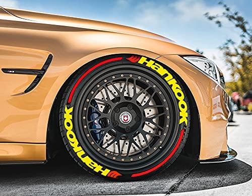Ps1 Hankook - Juego de 8 pegatinas para neumáticos de 14 a 22 pulgadas (4 unidades), color amarillo con rayas rojas