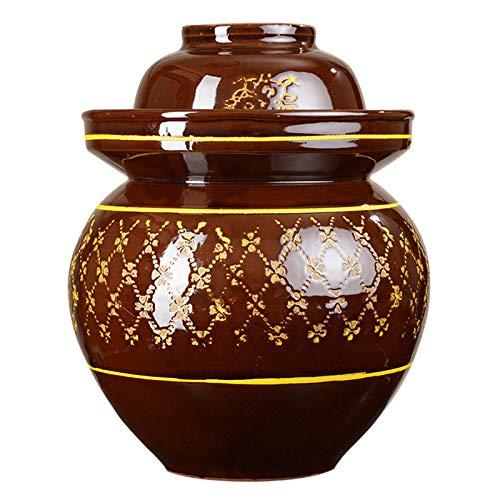 Tarro de porcelana para encurtir, kimchi Crock Pot con tapa Recipientes de cerámica para almacenar alimentos, alimentos fermentados para el hogar Col de nabo en fermentación,5KG