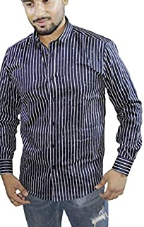 Spanish One Look Mens Casual Long Sleeve 100% Cotton Regular Fit Button Down Casual Shirts Dress in Dark Blue Printed Stripped Shirt for Men