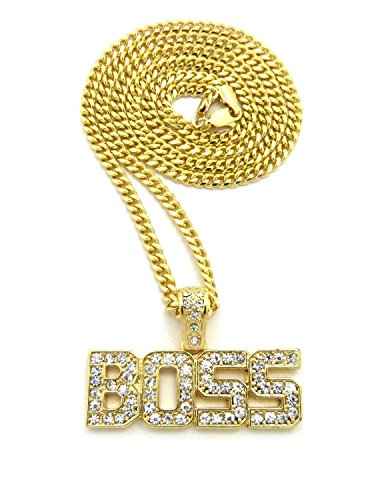 Shiny Jewelers USA Mens ICED Out BOSS Pendant Gold Box Cuban Rope Chain Hip HOP Necklace
