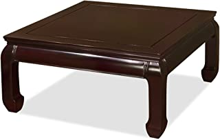 ChinaFurnitureOnline Hand Crafted 36in Ming Style Square Rosewood Coffee Table - Dark Cherry