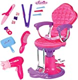 Sophia's Doll Salon Chair with Hair Accessories for 18 inch Doll Playsets | Hair Dryer, Straightener, Mirror, Brush and More