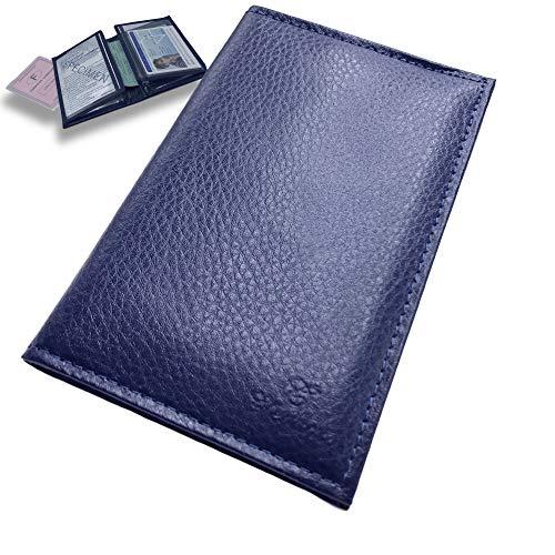 Porte Papier Voiture Cuir avec 2 Etuis Proteges Carte Grise et Permis - Porte Document Véhicule avec Rangement Assurance et vignettes -Bonus : Pochette Blocage RFID WalStart (Bleu1)