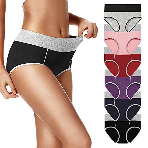 UMMISS Underwear for Women Soft 6 Pack Comfy Briefs High Waist Panties for Women