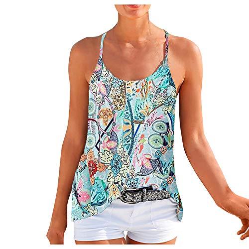 Blusa de Mujer Verano Tops Cuello Redondo Imprimir Casual Sin Mangas Chaleco Camisetas Gráfico Playa Camisola Camisetas De Tirantes T-Shirt (S, Verde)