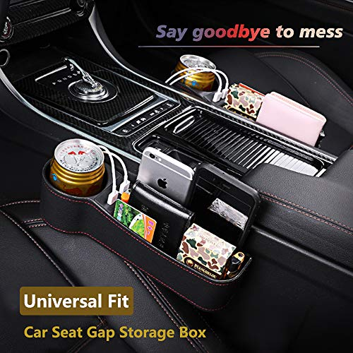 SUNMORN Car Seat Gap Organizer, Multifunctional with Dual USB Charging, Cup Holder, Leather Storage Box, Order for Passenger Side Cup Holder Facing Back (Black)