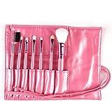 Set de pinceles de maquillaje Fanxp de 7 piezas Pinceles multiusos de color sólido con bolsa de maquillaje-Rosa