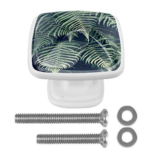 Juego de 4 pomos hechos a mano, varios colores, tiradores de cajón, ideales para cualquier hogar, cocina u oficina, tapa de rosca y pernos, planta de bosque natural, verde