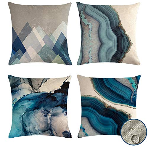 vigvog Outdoor Cushion Covers 45 x 45, Pack of 4, Geometric Waterproof Cushion Covers for Outside Bench Sofa Furniture (Ocean)