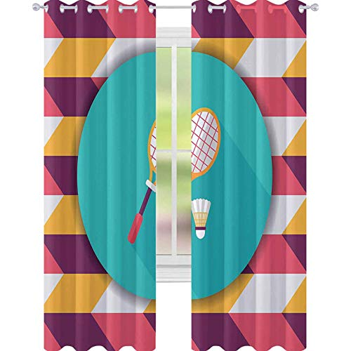 YUAZHOQI Cortina opaca para ventana, raqueta de bádminton y bola icono plano con sombra larga eps cortinas personalizadas 52 'x 72'