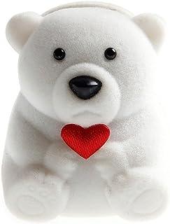 Dengengeng, mini graziosi orsetti, scatole regalo per anelli e piccoli orecchini, colore: bianco, cod. DENGHENG
