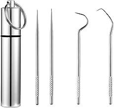 TOPBATHY 4pcs Portable Toothpick Set Stainless Steel Toothpick Flossing Tool Reusable Toothpick with Bottle Waterproof Por...