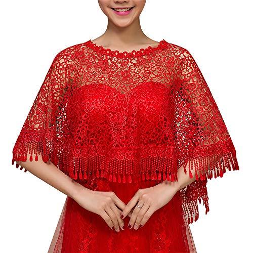 Tüll Umhang Capelet Frauen Wrap Cape Jacke Hochzeit Bolero Blumenspitze Quaste Brautverpackungen Cape Frauen Shrug Red (Color : Red, Size : Free Size)