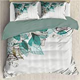 Turquoise Bedding 3-Piece Full Bed Sheets Set, Microfiber Sheet Set Flowers Buds Leaf at The Top...