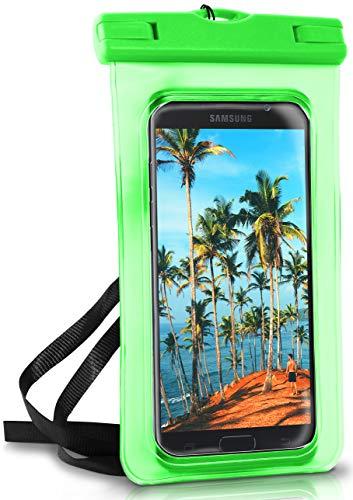 ONEFLOW® wasserdichte Handy-Hülle für Samsung A + J Reihe | Touch- & Kamera-Fenster + Armband und Schlaufe zum Umhängen, Grün (Palm-Green)