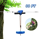 98FT Zip Line Kit for Kid Up to 330lb with Stainless Steel Ziplines Spring Brake and Thickened Seat, Zipline Trolley with Handle for Backyard Playground Entertainment Equipment, Best Gift for Children