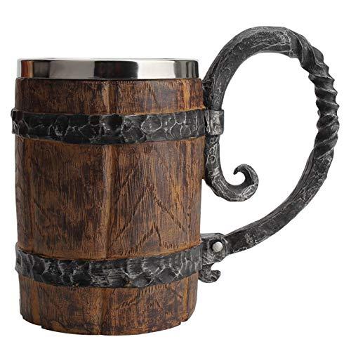 Boccale da birra fatto a mano, in imitazione legno, 20 once di legno, in acciaio inox, per bar, ristorante, regalo per uomini