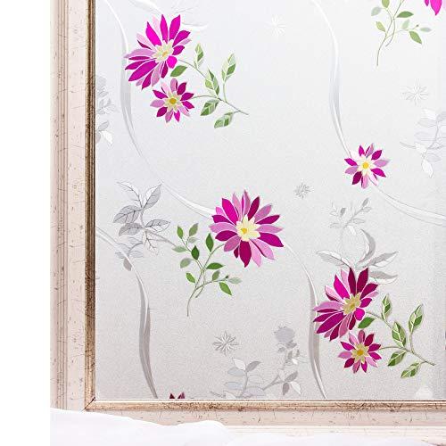 CottonColors 3D-Fenster-Folie selbstklebend, mattiert, Anbringung durch statische Wirkung, getönte Scheiben, dekorative Fensteraufkleber, UV-Schutz, zur eigenen Gestaltung 90cm x 200cm Rote Blumen