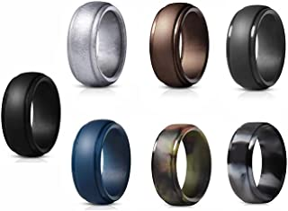 Silicone Ring for Men -7 Pack Comfortable Fit, Skin Safe, Breathable Men's Silicone Wedding Bands- Step Edge Sleek Design - 7 Color Silicone Wedding Rings Perfect for Gift, Size 7-13