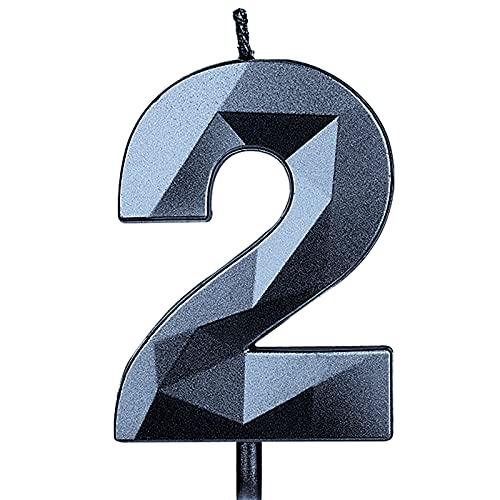 KINBOM 7cm Velas Cumpleaños con Números Grandes, Forma de Diamante 5D Velas Cumpleaños...