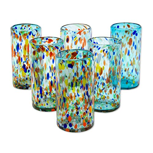 NOVICA Light Blue Confetti Eco-Friendly Hand Blown Glass Tumblers, 16 Oz, Sky Rainbow Raindrops' (Set Of 6)