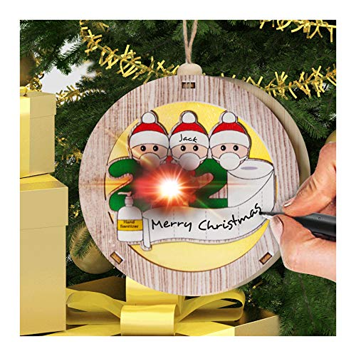 2020 Christmas Ornament Lights: Personalized Quarantine Lights Kit with Toilet Paper Customized Family Name Creative Christmas Tree Decorating Set - Friends for Christmas(3 People)