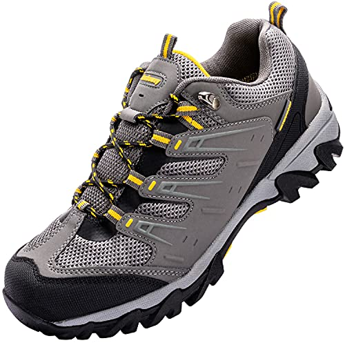 Zapatos de Senderismo Impermeable Mujeres Calzado Deportivo de Exterior de Hombre Antideslizante Transpirable Zapatillas Casual Calzado de Acampada y Marcha Gris EU 45