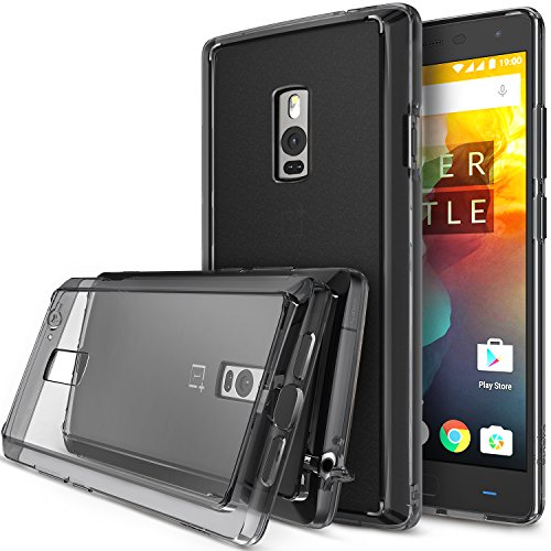 Ringke Fusion Compatible with OnePlus 2 Case Crystal Clear PC Back TPU Bumper with Screen Protector Drop Protection, Shock Absorption Technology (Attached Dust Cap) for OnePlus Two - Smoke Black