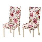 YoungYuan Fundas de sillas Comedor Cubre sillas Comedor Fundas para sillas para Comedor Silla de Comedor de Cojines Diningchair Cubre Set of 2,Rose Red