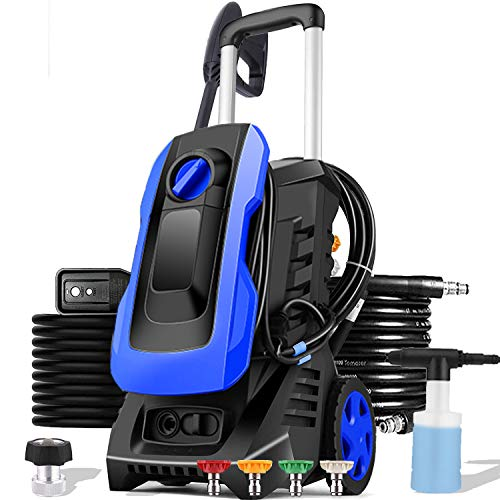 mrliance 3300PSI Electric Pressure Washer 1800W 2.6GPM High Pressure Power Washer Car Washer with Hose Reel, 5 Adjustable Nozzles, Soap Bottle (Blue)
