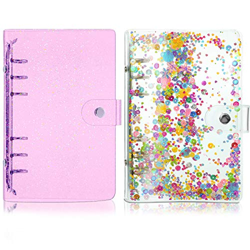 2 Pieces A6 Soft PVC 6-Ring Binder Cover, Notebook Binder Cover with Shiny Sequins and Snap Button Closure Loose Leaf Folder Notebook Round Ring Clear Binder Cover Protector (Purple)