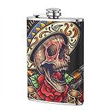 Trinkflaschen für Alkohol, Vektor-Illustration des Tages des toten Schädels mit Fahnen-Rosen und Revolver-Edelstahl-Flachmann für Männer