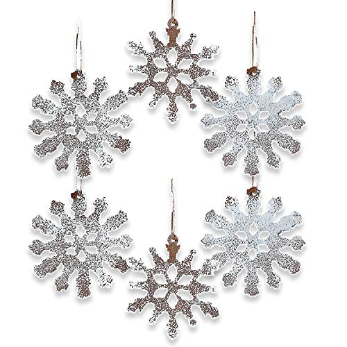 Fun Express White Rustic TIN Snowflake Ornaments - Home Decor - 12 Pieces