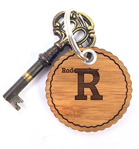 Mr. & Mrs. Panda Schlüsselanhänger Nachname Rademacher Rundwelle - 100% handgefertigt aus Bambus Holz - Anhänger, Geschenk, Nachname, Name, Initialien, Graviert, Gravur, Schlüsselbund, handmade, exklusiv