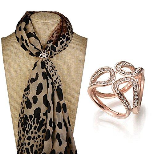FairOnly XY Fancy Donna Elegante tre anelli Sciarpa Fibbia Lega Strass Chiffon Sciarpa Anelli Clip Oro