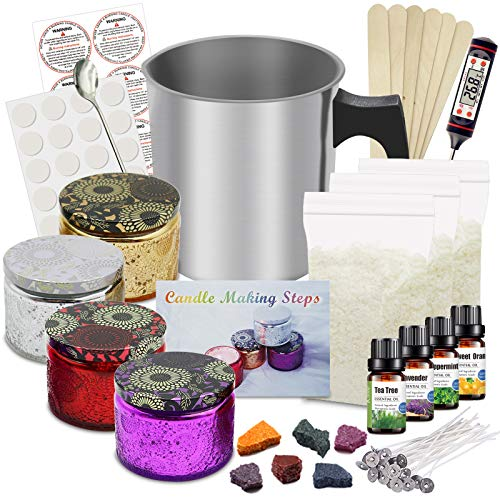 DIY Candle Making Kit Supplies, Full Beginners Set Including Soy Wax, Pot, Candle Wicks, Candle Dye, Glass Jar, Candles Craft Supplies Gifts Set