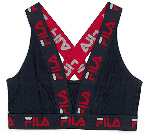 Fila Women's Logo Cotton Cross-Back Sports Bra, Peacoat, Medium