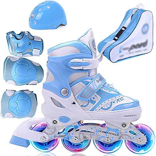 TOPNIU Rodillos en línea para niños - Patines Ajustables de Rodillos - para Exterior e Interior - con Ruedas Lisas (Color : Bleu, Size : Small 27-32)