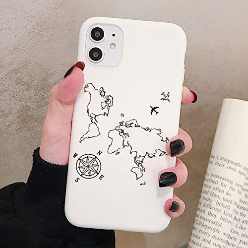 LIUYAWEI World Map Travel Funda para teléfono para iPhone 12 11 Pro XR X XS MAX 8 7 Plus SE Mini Fundas de Silicona esmerilada Cubierta Trasera Suave, P3White, para iPhone12 Pro MAX